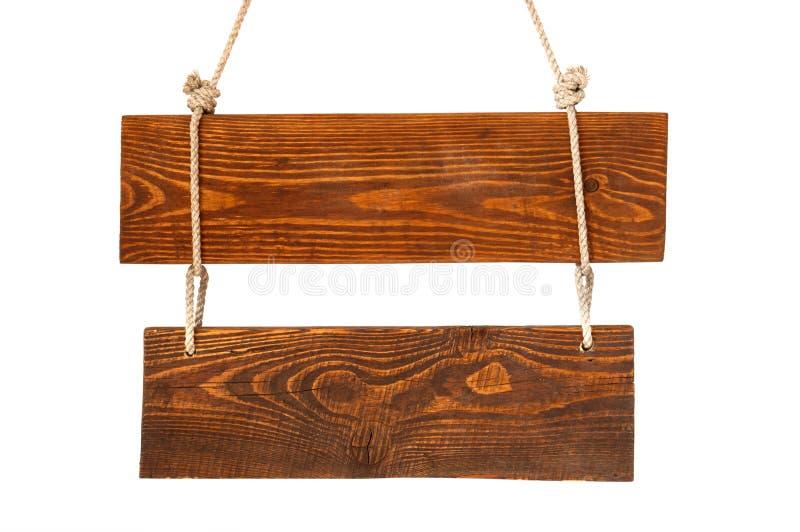 Tarjeta de madera de la muestra con la cuerda fotografía de archivo