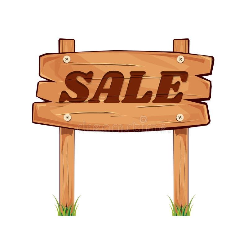 Tarjeta de madera de la muestra Descuento de la venta Letrero de la venta superficie ilustración del vector