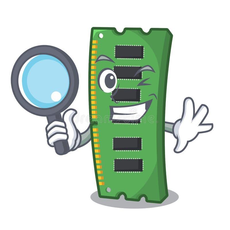 Tarjeta de memoria de RAM del detective la forma de la mascota ilustración del vector