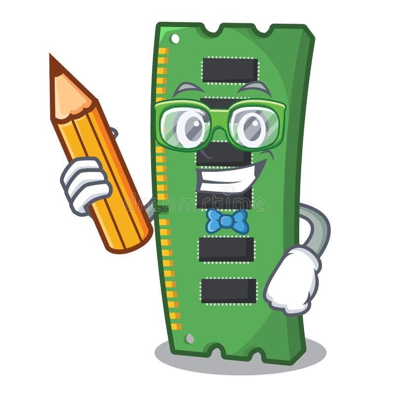 Tarjeta de memoria de RAM del estudiante la forma de la mascota ilustración del vector