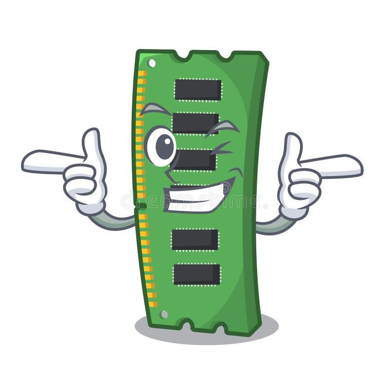 Tarjeta de memoria de Wink RAM la forma de la mascota ilustración del vector