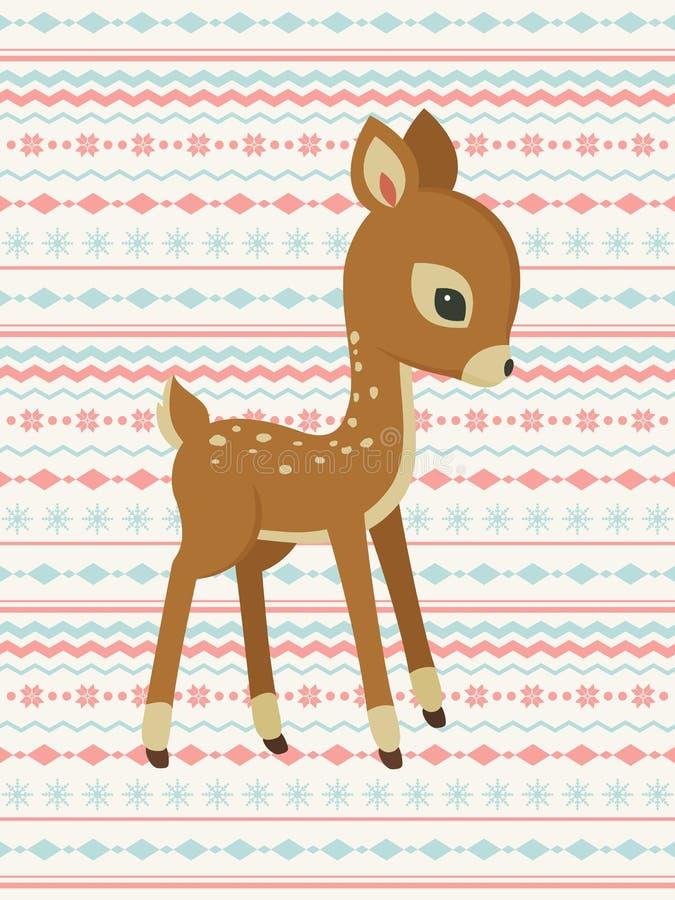 Tarjeta de modelo de los ciervos del bebé ilustración del vector