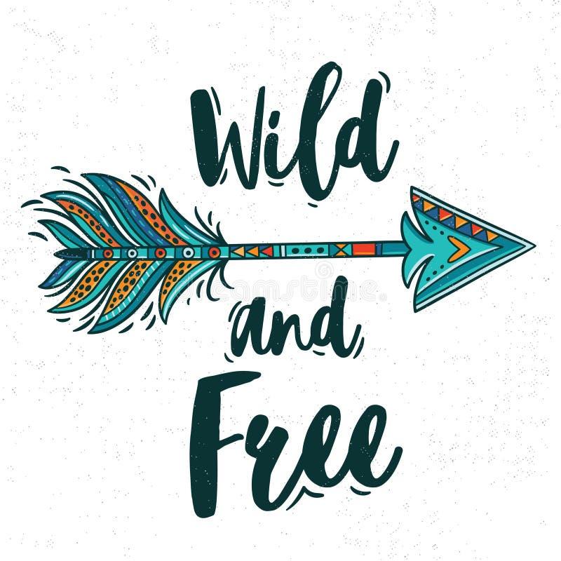 Tarjeta de motivación con la flecha étnica tribal Adornos indios americanos ilustración del vector
