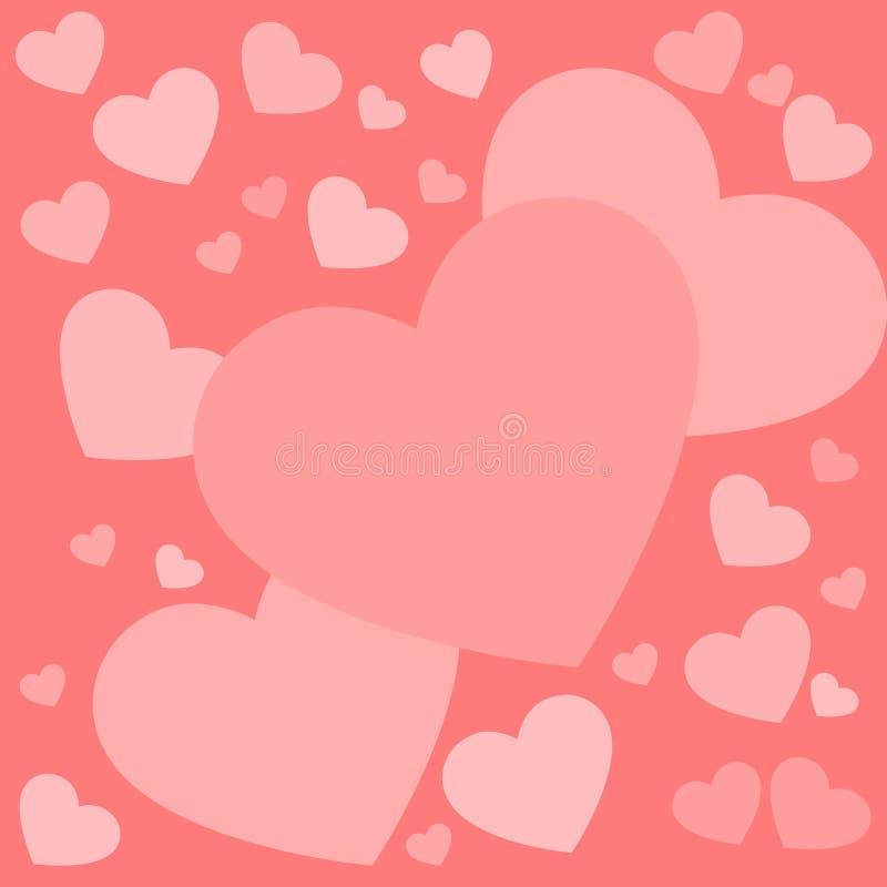 Tarjeta de muchos rosa y corazones rojos para el día de tarjeta del día de San Valentín ilustración del vector