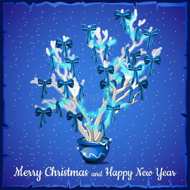 Tarjeta de Navidad adornada con el árbol de plata ilustración del vector