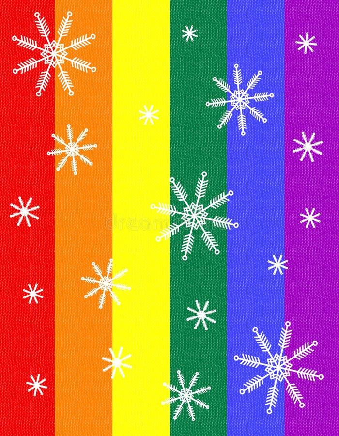 Tarjeta de Navidad alegre del copo de nieve del indicador del orgullo 2 stock de ilustración