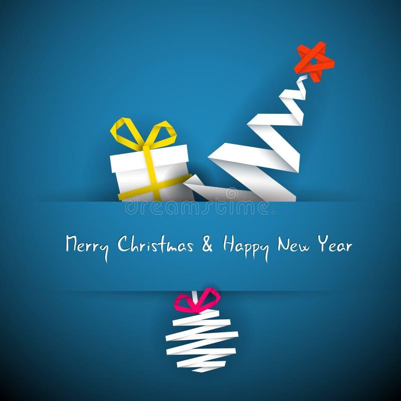 Tarjeta de Navidad azul simple ilustración del vector