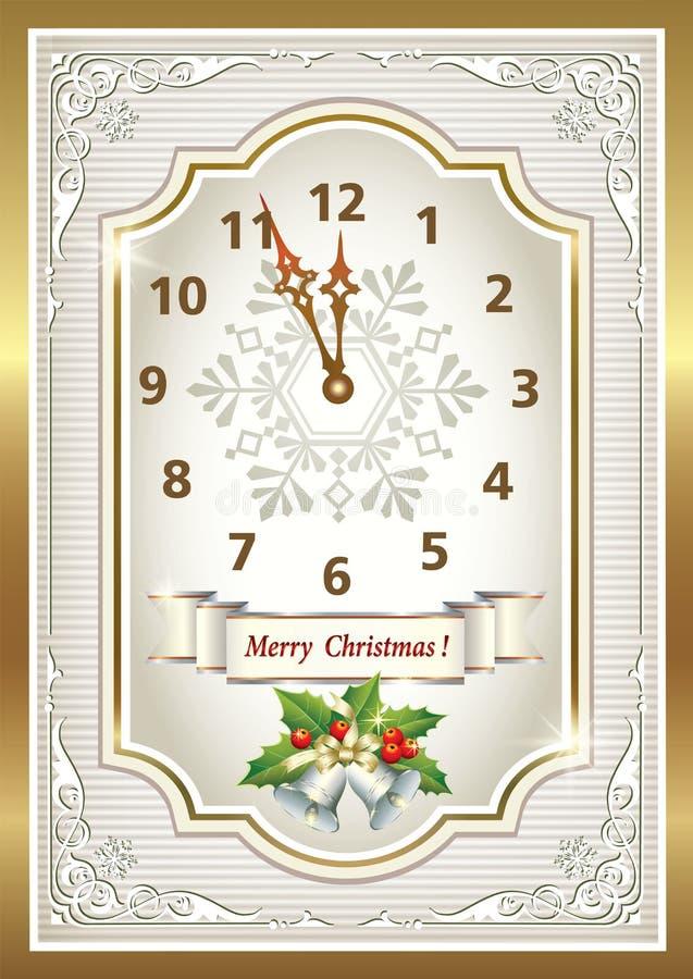 tarjeta de navidad bajo la forma de reloj original foto de archivo libre de regalas
