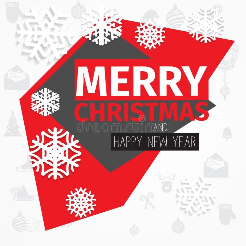 Tarjeta de Navidad blanca negra roja del esquema de color del estilo moderno libre illustration