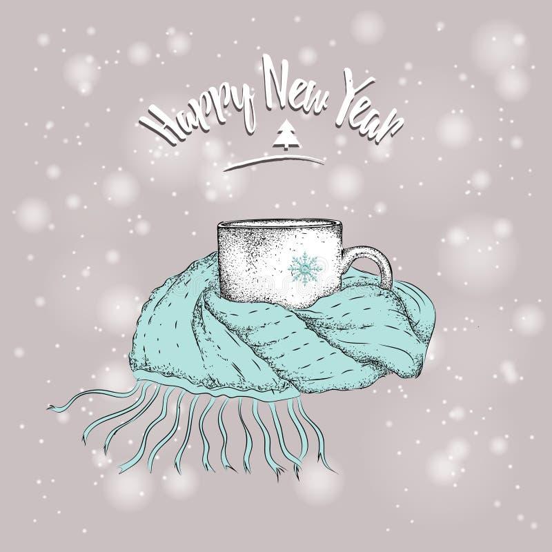 Tarjeta de Navidad Bosquejo del vintage de la taza en una bufanda ¿? encima en del fondo de la nieve de la Navidad Ilustración de stock de ilustración