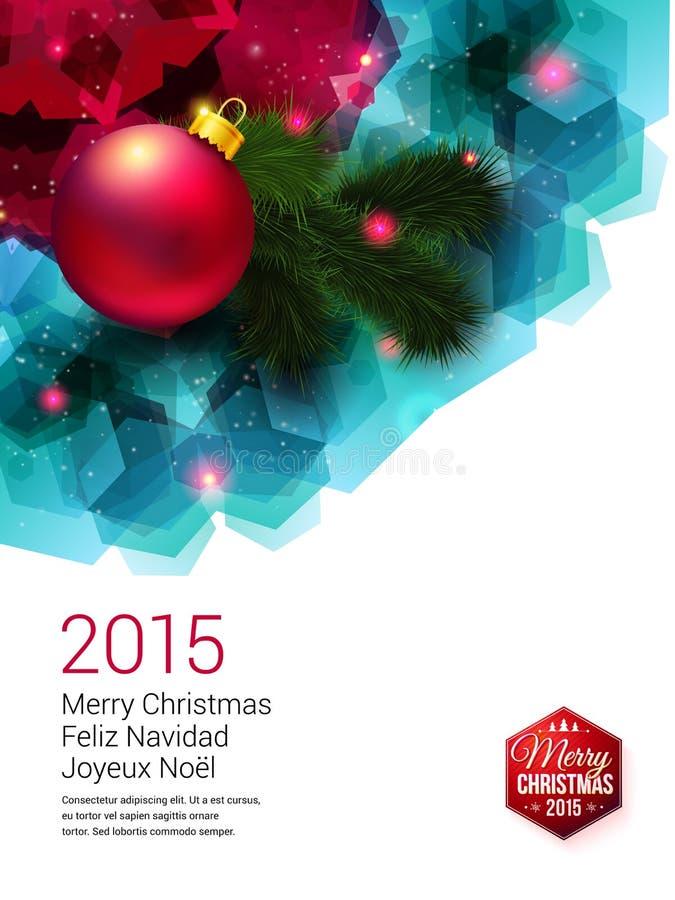 Tarjeta de Navidad brillante con la decoración realista stock de ilustración