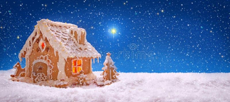 Tarjeta de Navidad Casa de pan de jengibre del día de fiesta foto de archivo libre de regalías
