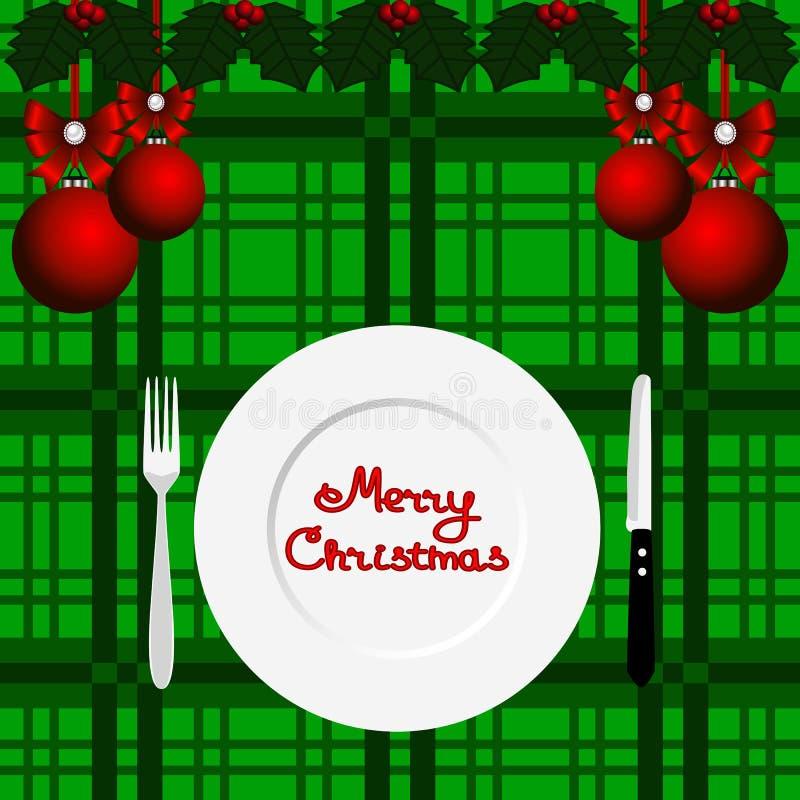 Tarjeta de Navidad Cena de la Navidad ilustración del vector