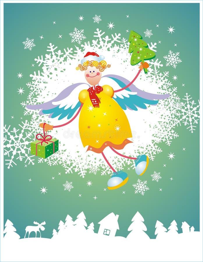 Tarjeta de Navidad con ángel ilustración del vector