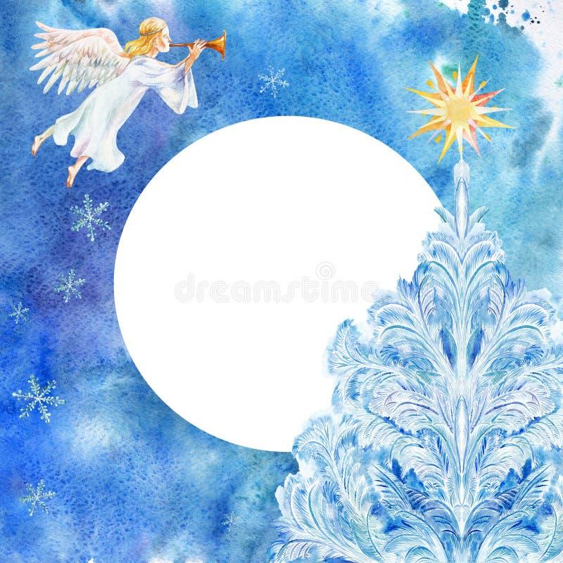 Tarjeta de Navidad con ángel y el árbol de Chrismas Acuarela en fondo azul stock de ilustración