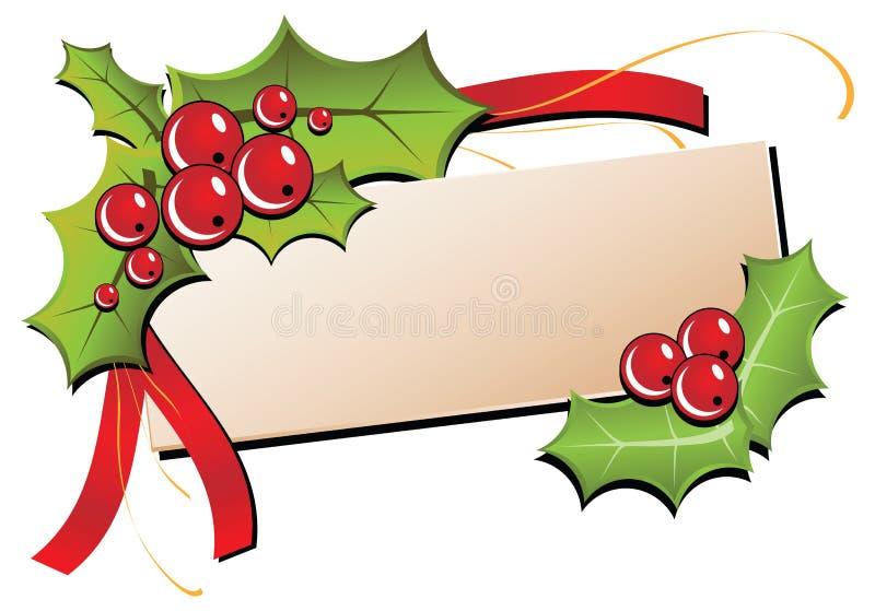 Tarjeta de Navidad con acebo ilustración del vector