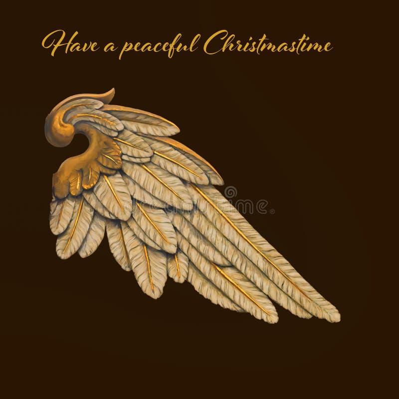 Tarjeta de Navidad con Angel Wing stock de ilustración