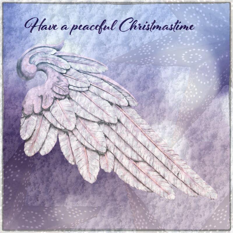 Tarjeta de Navidad con Angel Wing ilustración del vector