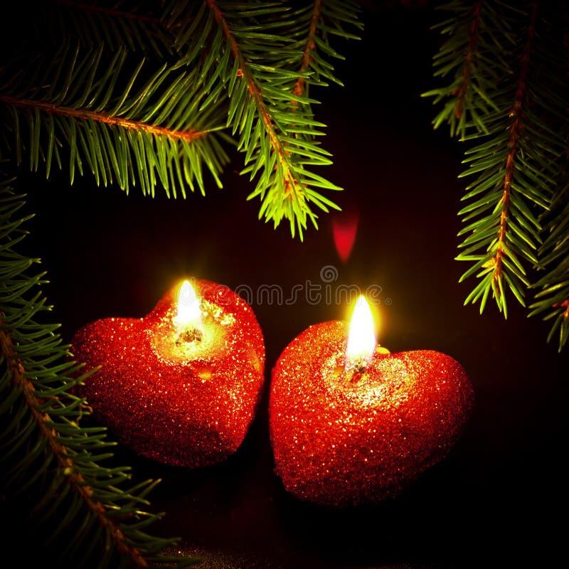 Tarjeta de Navidad con dos velas fotografía de archivo libre de regalías