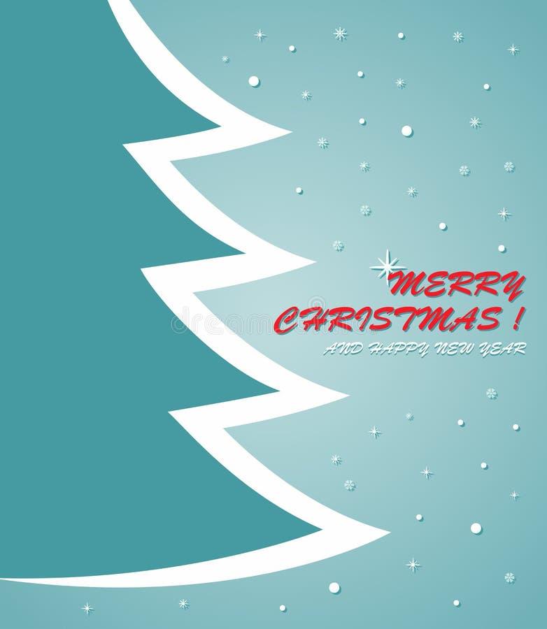 Tarjeta de Navidad con el árbol de navidad, centellando poca estrella y nieve stock de ilustración