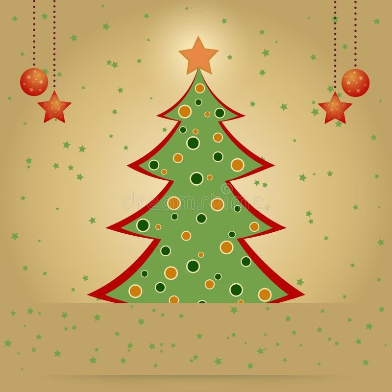 Tarjeta de Navidad con el árbol de abeto adornado ilustración del vector