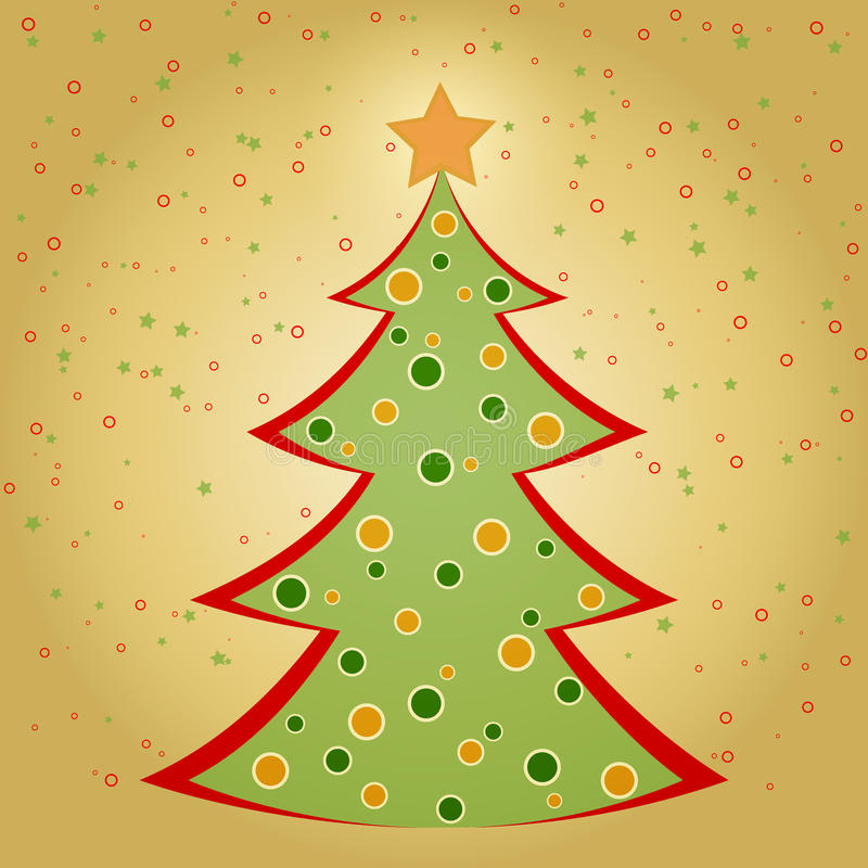 Tarjeta de Navidad con el árbol de abeto adornado stock de ilustración