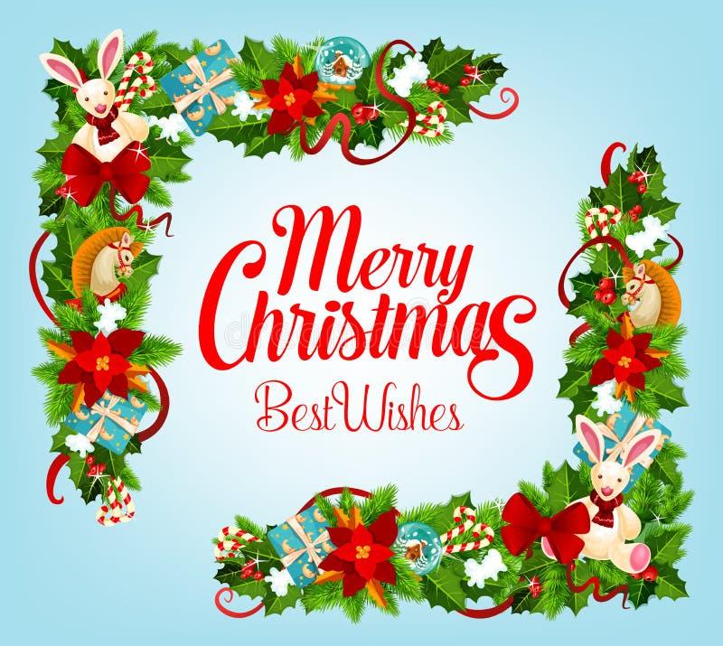 Tarjeta de Navidad con el árbol de Navidad, esquina del marco del regalo ilustración del vector