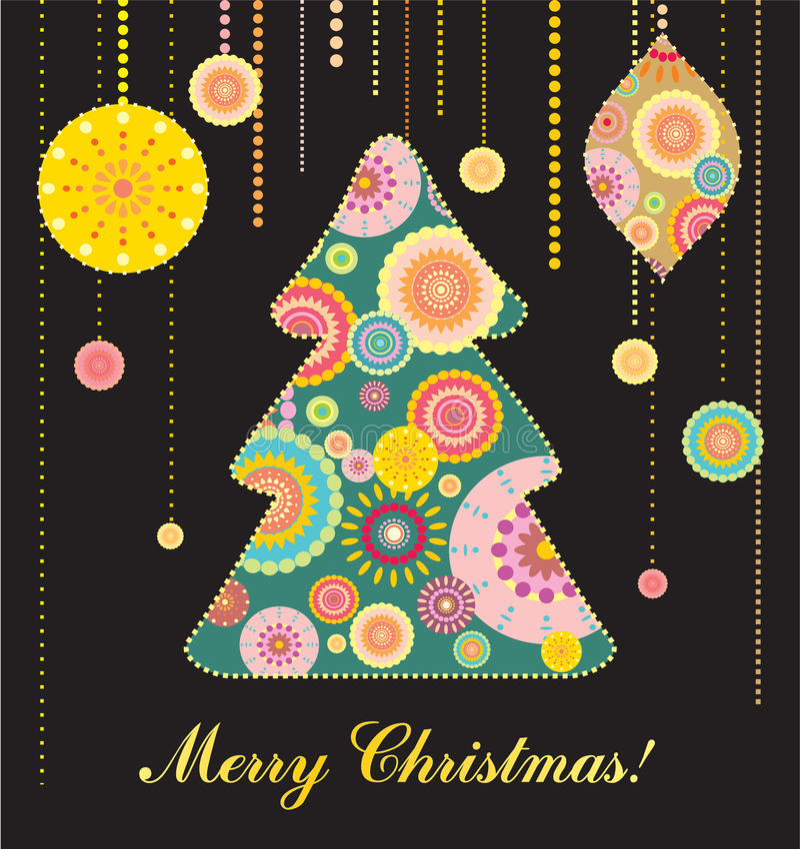 Tarjeta de Navidad con el árbol y los juguetes ilustración del vector