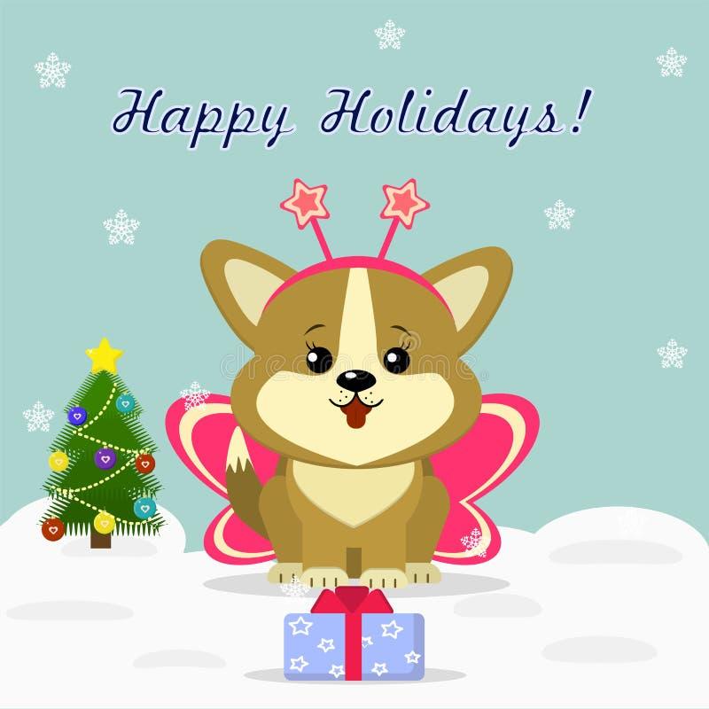 Tarjeta de Navidad con el corgi lindo del perrito libre illustration