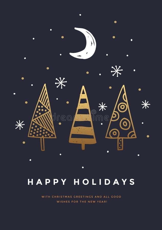 Tarjeta de Navidad con el dibujo de oro Árboles de navidad decorativos en cielo, copos de nieve y creciente oscuros del fondo libre illustration
