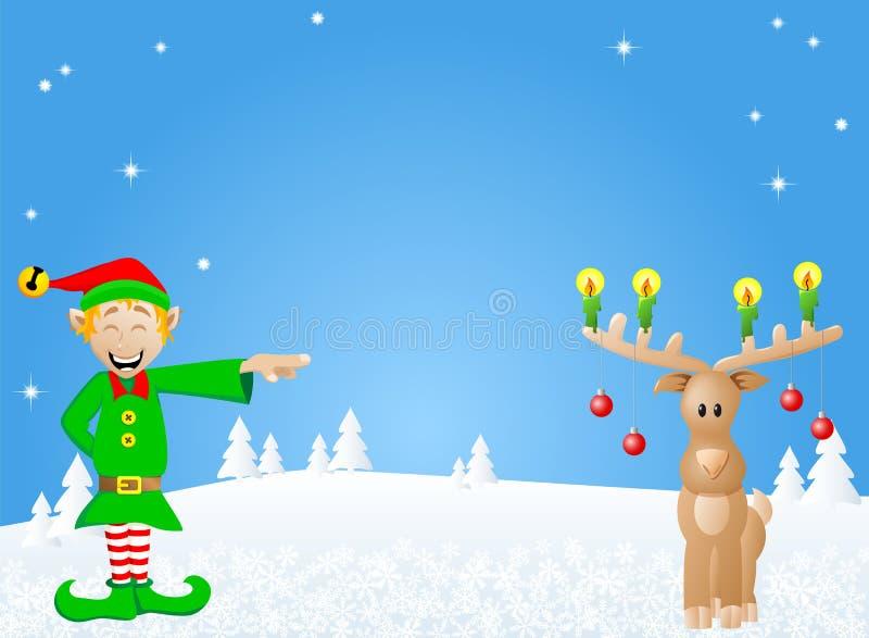 Tarjeta de Navidad con el duende y el reno stock de ilustración