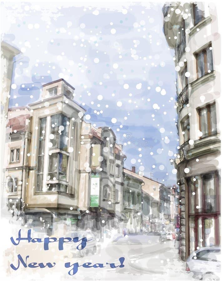 Tarjeta de Navidad con el ejemplo de la calle de la ciudad libre illustration