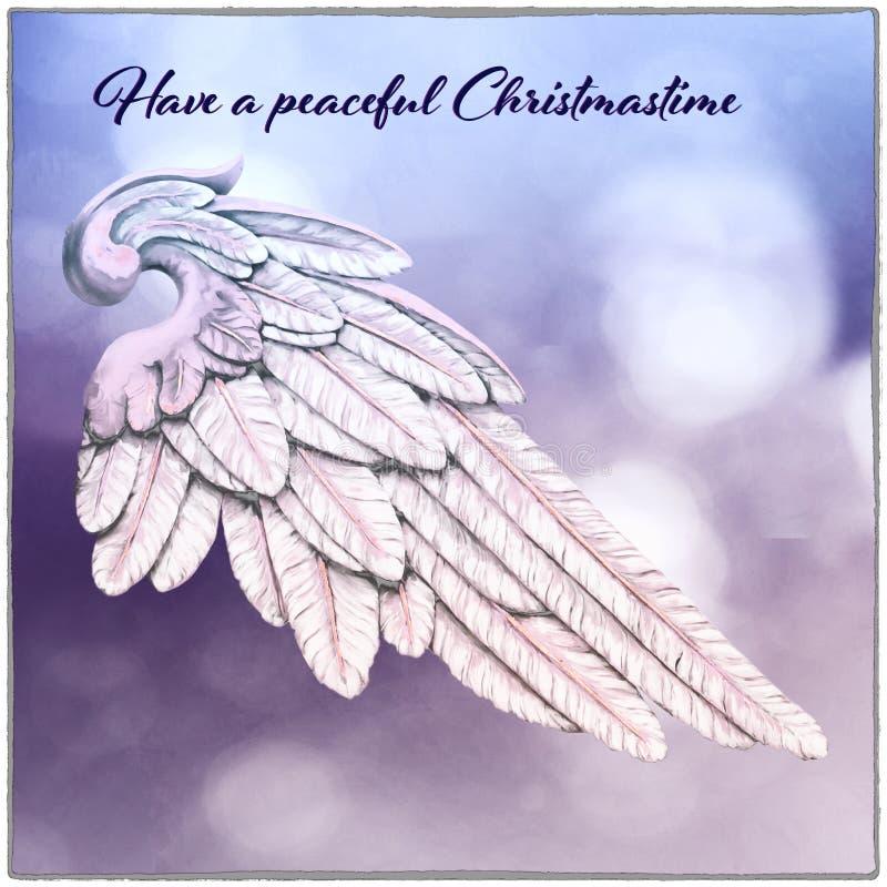 Tarjeta de Navidad con el fondo de Angel Wing y de la falta de definición ilustración del vector
