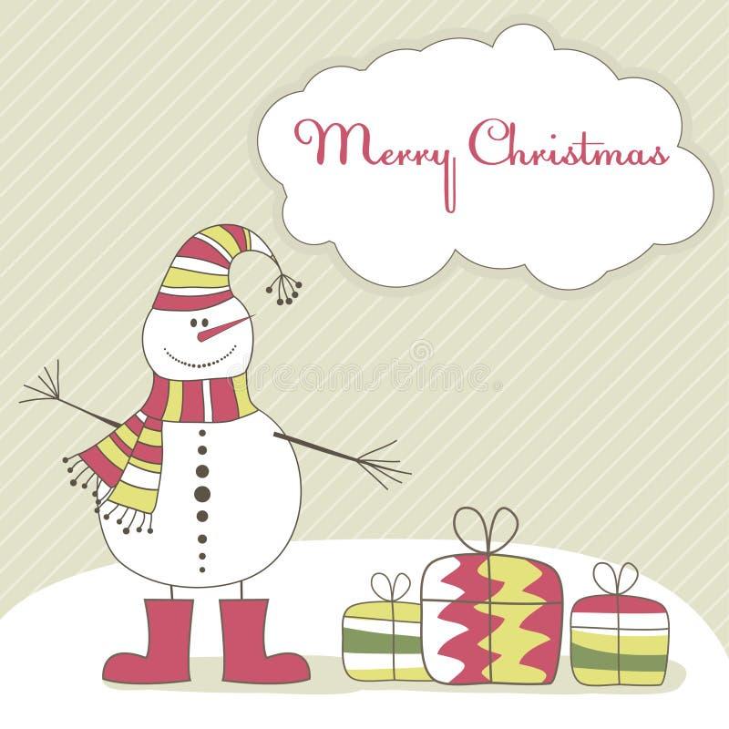 Tarjeta de Navidad con el hombre de la nieve. Ilustración del vector ilustración del vector