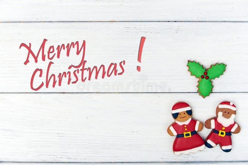 Tarjeta de Navidad con el hombre de pan de jengibre libre illustration