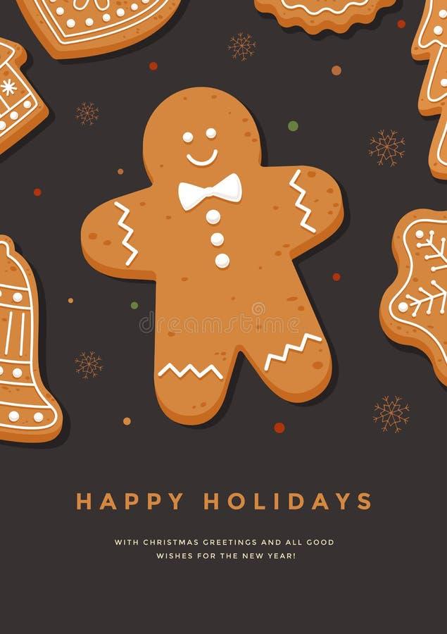 Tarjeta de Navidad con el hombre de pan de jengibre y la inscripción buenas fiestas stock de ilustración