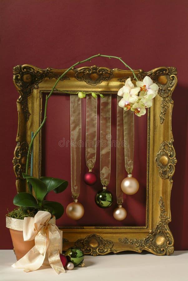 Tarjeta de Navidad con el marco del vintage imagen de archivo