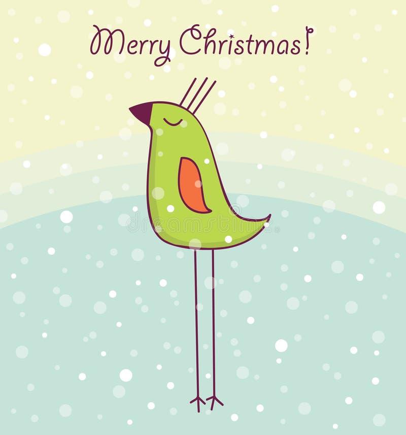 Tarjeta de Navidad con el pájaro feliz fotografía de archivo libre de regalías