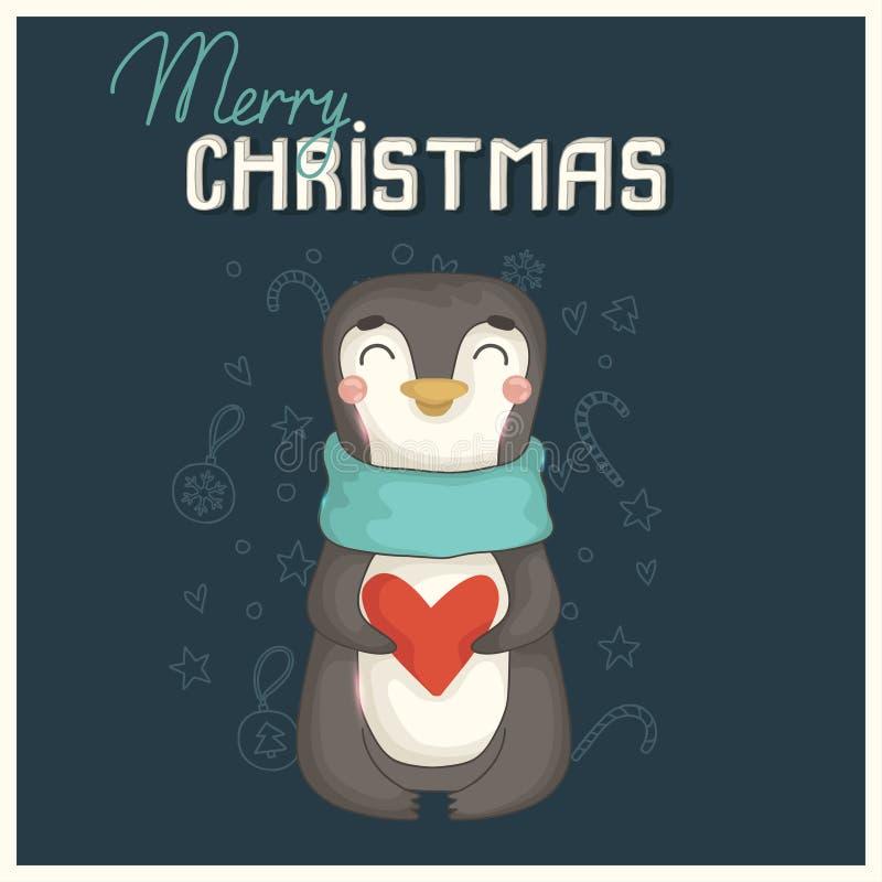 Tarjeta de Navidad con el pingüino lindo stock de ilustración