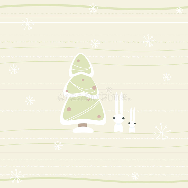 Download Tarjeta De Navidad Con El Pino Y Los Conejos Ilustración del Vector - Ilustración de pino, helada: 7285288