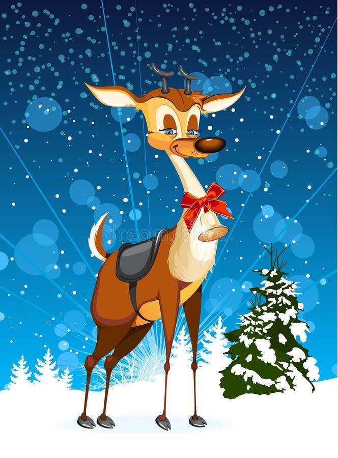 Tarjeta de Navidad con el reno stock de ilustración