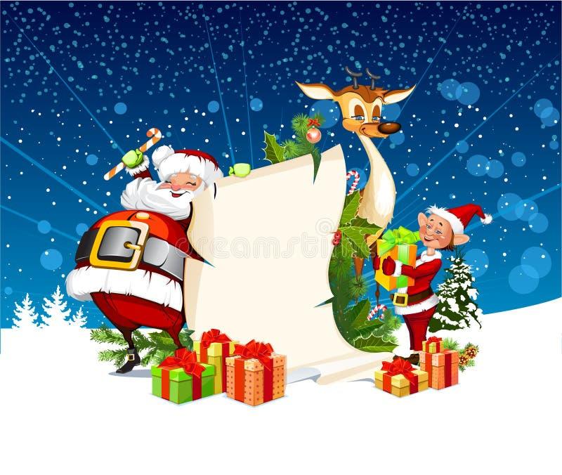 Tarjeta de Navidad con el reno de Papá Noel, duendes ilustración del vector