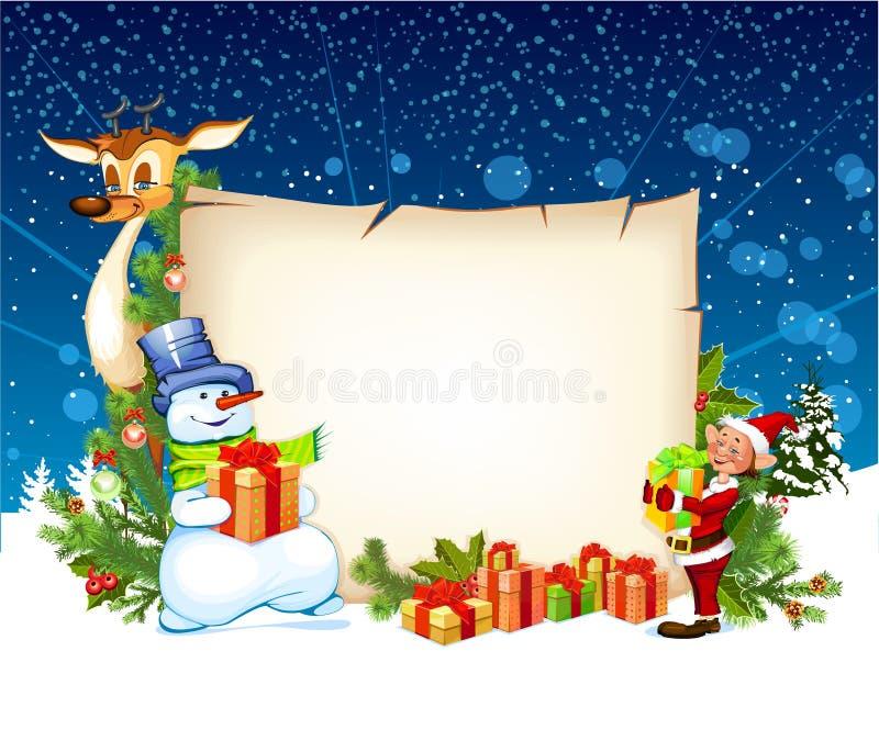 Tarjeta de Navidad con el reno del muñeco de nieve y un duende stock de ilustración