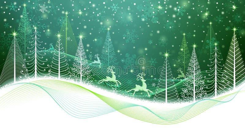 Tarjeta de Navidad con el reno mágico stock de ilustración