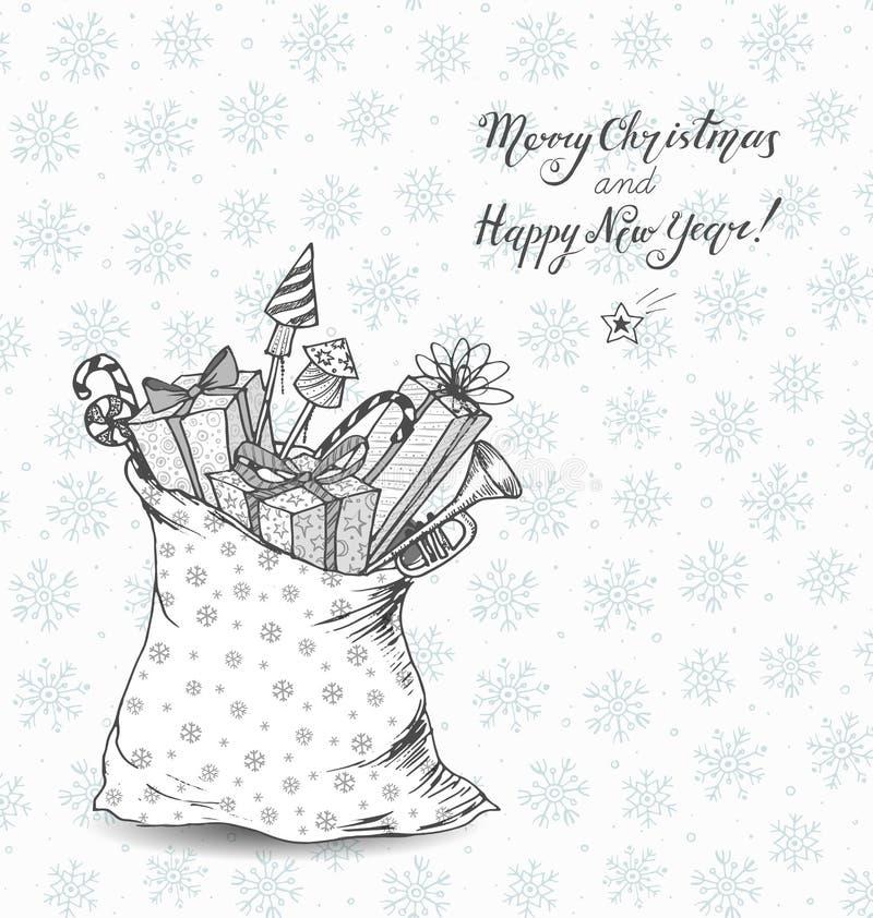 Tarjeta de Navidad con el saco lleno de regalos Regalo Boxes caramelos de la Navidad, cohetes del fuego artificial Ejemplo del bo ilustración del vector