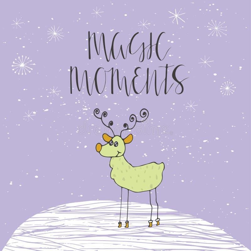 Tarjeta de Navidad con el texto y el reno en un fondo del invierno ilustración del vector