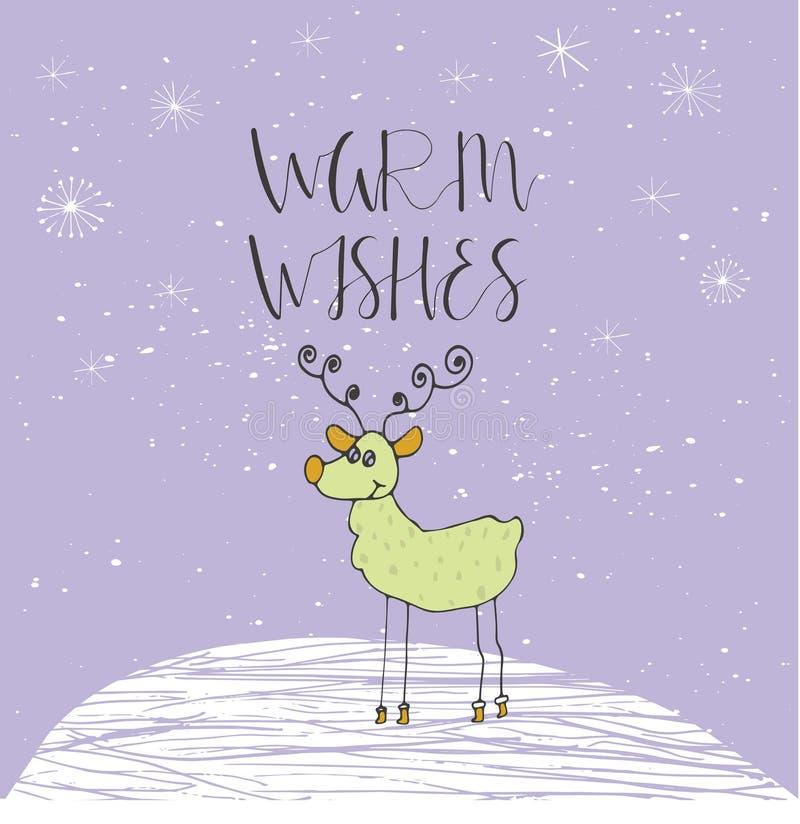 Tarjeta de Navidad con el texto y el reno en un fondo del invierno con nieve y copos de nieve ilustración del vector