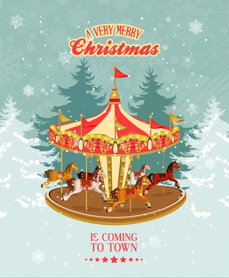 Tarjeta de Navidad con el tiovivo, el árbol de navidad y los copos de nieve del vintage libre illustration