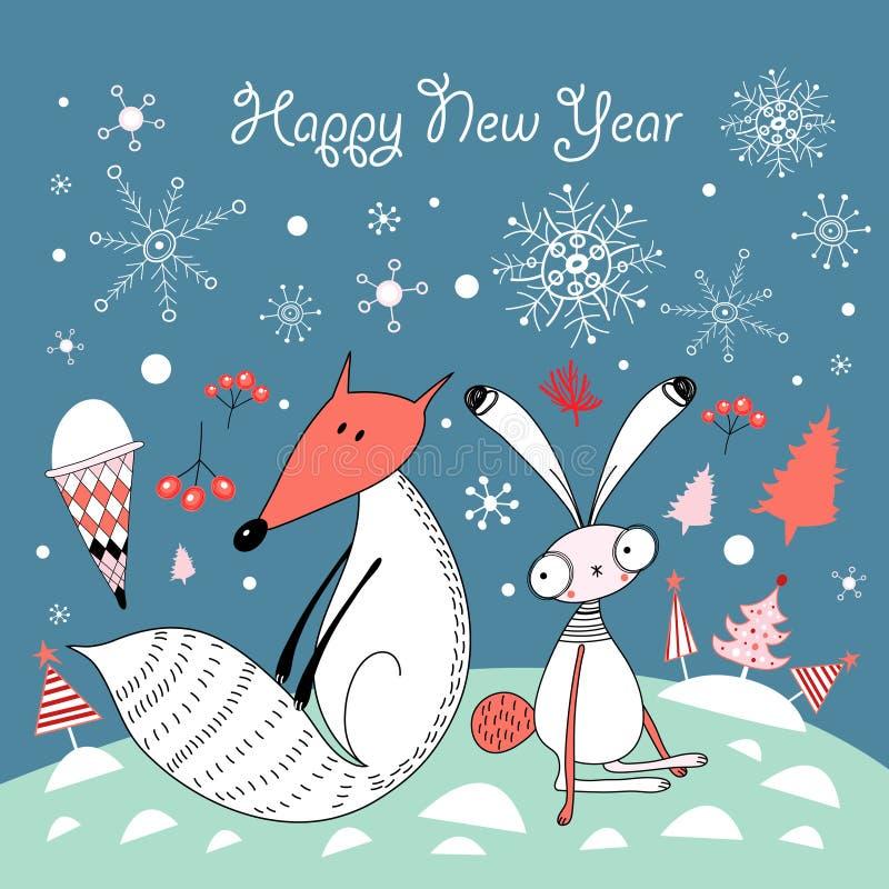 Tarjeta de Navidad con el zorro y las liebres stock de ilustración