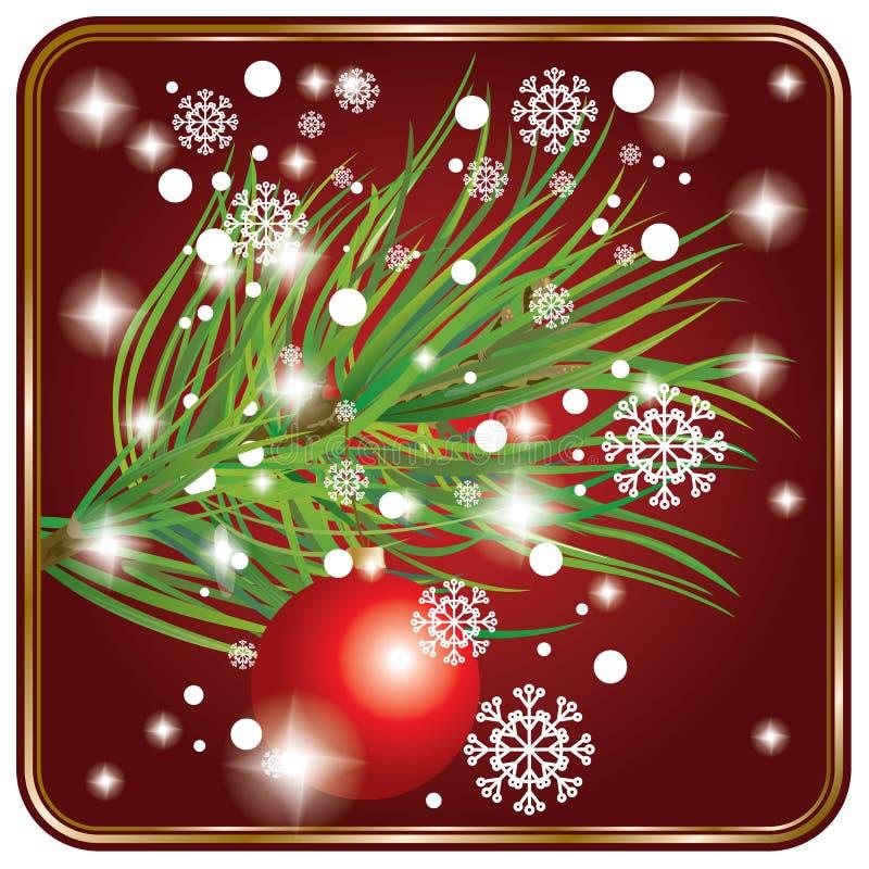 Tarjeta de Navidad con la bola y el piel-árbol stock de ilustración